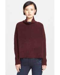 Theory | Purple 'linella' Funnel Neck Wool Boucle Pullover | Lyst