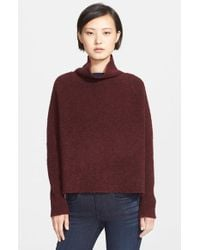 Theory - Purple 'linella' Funnel Neck Wool Boucle Pullover - Lyst