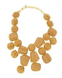 Kenneth Jay Lane - Metallic Wood & Golden Bib Necklace - Lyst