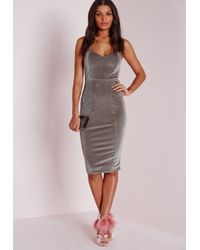 Missguided | Metallic Velvet Bandeau Bodycon Dress Grey | Lyst
