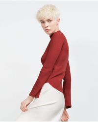 Zara | Red Bell Sleeve Top | Lyst