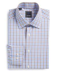 David Donahue | Blue Regular Fit Check Dress Shirt for Men | Lyst