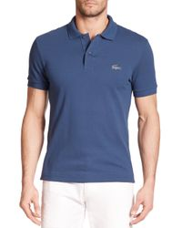 Lacoste | Blue Reflective Croc Pique Polo for Men | Lyst