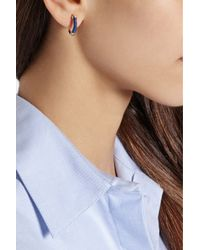 Aurelie Bidermann | Blue Mini Creoles Gold-plated And Cotton Hoop Earrings | Lyst
