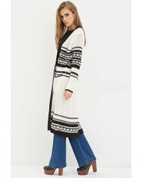 Forever 21 | White Geo-patterned Cardigan | Lyst