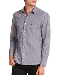 Burberry Brit - Blue Watts Checked Cotton Sportshirt for Men - Lyst