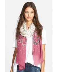 La Fiorentina - Floral Print Wool & Silk Scarf - Purple - Lyst