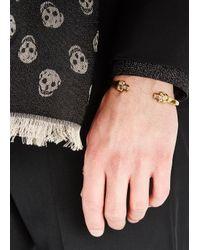 Alexander McQueen - Metallic Gold-plated Twin Skull Cuff for Men - Lyst