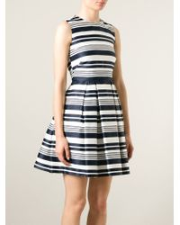 RED Valentino | Blue Striped Pleated Dress | Lyst