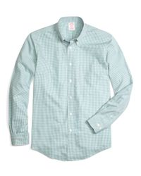 Brooks Brothers | Blue Non-iron Milano Fit Micro Gingham Sport Shirt for Men | Lyst