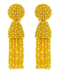Oscar de la Renta - Short Dotted Beaded Tassel Clipon Earrings Yellow - Lyst