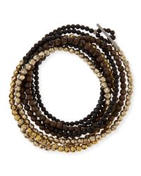 Brunello Cucinelli - Brown Mixed-bead Wrap Bracelet - Lyst