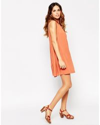 ASOS - Red Swing Sundress With Eyelet Details - Lyst