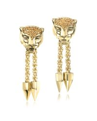 Roberto Cavalli - Metallic Panther Golden Metal Earrings Wcrystals - Lyst