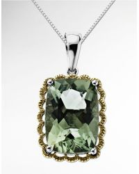 Lord & Taylor | Green Amethyst Pendant In Sterling Silver With 14k Yellow Gold | Lyst
