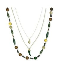 The Sak | Goldtone Green Bead Layered Charm Necklace | Lyst