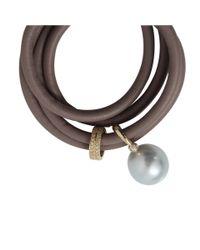 Mizuki - Gray Pearl and Leather Wrap Bracelet - Lyst