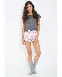 Forever 21 - Pink Cupcake Print Flannel Pj Shorts - Lyst