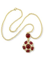 Kenneth Jay Lane | Metallic Satin Gold Ruby Cabochons Pendant Necklace | Lyst