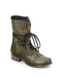 Steve Madden - Green Troopa Leather Combat Boots - Lyst