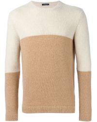 Roberto Collina - Natural Colour Block Sweater for Men - Lyst