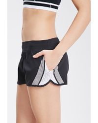 Forever 21 | Black Active Mesh Paneled Running Shorts | Lyst