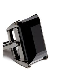 Kenneth Jay Lane | Rectangular Jet Black Stone Ring | Lyst