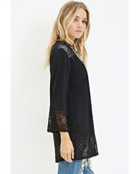 Forever 21 - Black Crochet-trimmed Crepe Cardigan You've Been Added To The Waitlist - Lyst