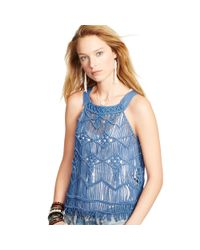 Denim & Supply Ralph Lauren - Blue Fringed Macramé Tank - Lyst