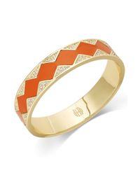 House of Harlow 1960 - Orange Goldtone Leather and Crystal Pave Inlay Bangle Bracelet - Lyst