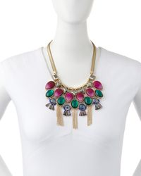 Lydell NYC - Golden Multicolor Bead Bib Necklace - Lyst