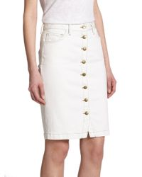 Current/Elliott - White Dorothy Denim Pencil Skirt - Lyst