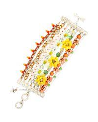 Betsey Johnson - Metallic Goldtone Flower Mixed Bead Multirow Toggle Bracelet - Lyst