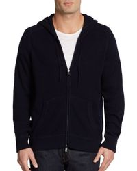 Vince | Blue Wool Cashmere Waffle Knit Hoodie for Men | Lyst