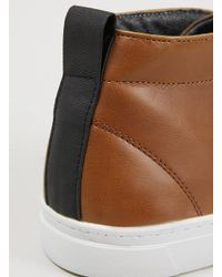 TOPMAN - Brown 'Verdy' Tan Leather Look Chukka Sports Shoes for Men - Lyst