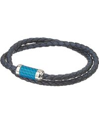 Tateossian | Blue Montecarlo Leather Bracelet With Silver And Enamel Clasp | Lyst