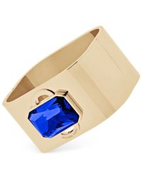 Michael Kors | Metallic Gold-tone Bracelet With Blue Center Stone | Lyst