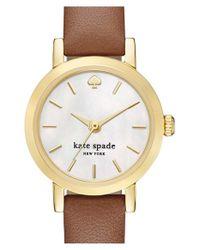 kate spade new york - Metallic 'metro' Leather Strap Watch - Lyst