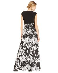Alex Evenings - Black Solid And Floral A-line Dress - Lyst