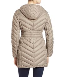 MICHAEL Michael Kors   Brown Hooded Puffer Coat   Lyst