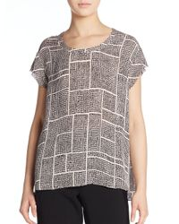 Vince | Natural Printed Silk Top | Lyst