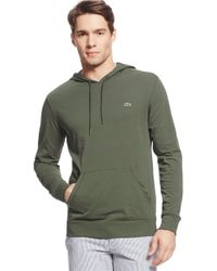 Lacoste - Green Cotton Hooded Tee for Men - Lyst