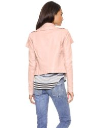 VEDA - Pink Classic Leather Jacket - Lyst