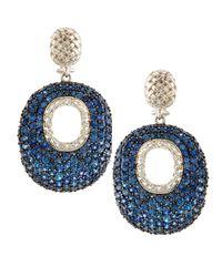 Slane - Cabaret Oversized Pave Blue Sapphire Earrings - Lyst