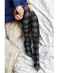 Urban Outfitters | Black Buffalo Plaid Over-the-knee Sock | Lyst