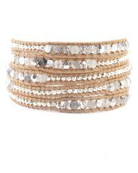 Chan Luu | Brown Grey Cloudy Quartz Mix Wrap Bracelet On Beige Leather | Lyst