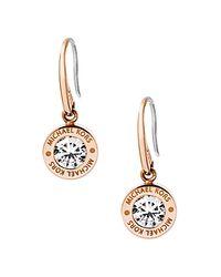 Michael Kors | Metallic Logo Disc Drop Earrings | Lyst