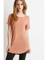 Forever 21 | Pink Linen-blend Longline Tee | Lyst