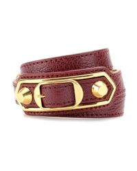 Balenciaga | Red Metallic Edge Leather Wrap Bracelet | Lyst