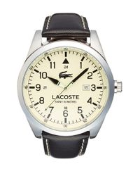 Lacoste - Black 'montreal' Leather Strap Watch for Men - Lyst